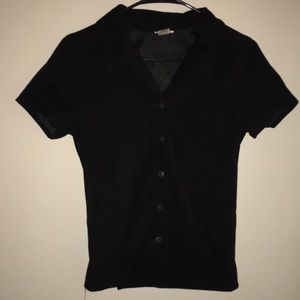 Black Suede Button Up Short Sleeve